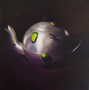 aluminium-teapot-and-bugs_70x70cm_oil-on-canvas_2008